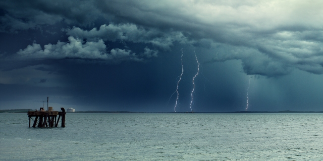 Storm passing through Darwin harbour - Canon 5D Mark III, 17-40mm F4 L lens at 40mm. ISO 100, f9, 1/25th